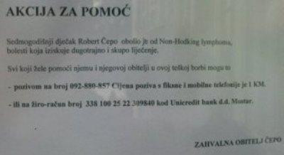 Hercegovci dobra srca pomozimo malom Robertu Čepi