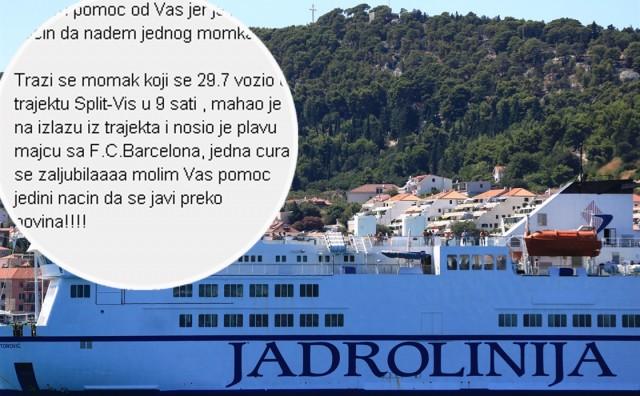 Mlada Splićanka zaljubila se na trajektu za Vis, traži se momak u plavoj majici!