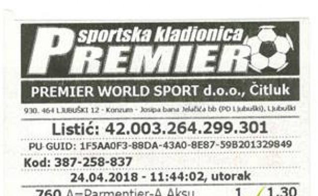 Kladioničar iz Ljubuškog s 1 KM uplate pogodio je 16 parova i dobio 4.677,10 KM