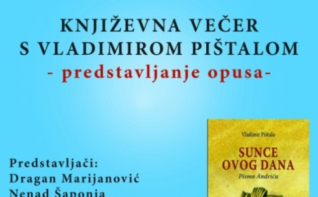 Galerija Aluminij ugošćuje predstavljanje književnoga opusa Vladimira Pištala