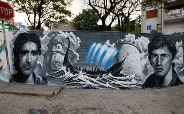 UVERTIRA U JADRANSKI DERBI Mural za Mitra i Magarca: Jedan navijao za Rijeku, drugi za Hajduk, a bili su nerazdvojni