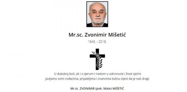 Preminuo profesor Zvonimir Mišetić