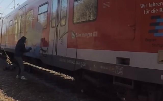 Škripari 1996 Stuttgart train graffiti