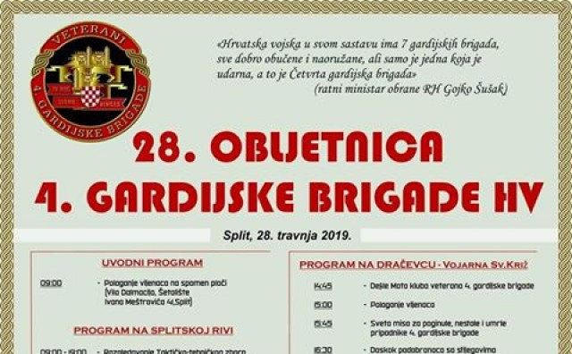 28. obljetnica osnutka legendarne Četvrte gardijske brigade