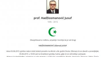 Suradnici Safeta Oručevića po društvenim mrežama likuju zbog smrti prof. Jusufa Hadžiosmanovića