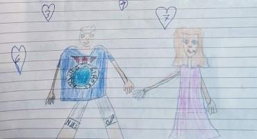 Ovako je mali Širokobriježanin Petar nacrtao mamu i tatu