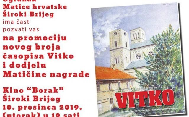 """Široki Brijeg: Večeras promocija novog broja časopisa """"Vitko"""""""
