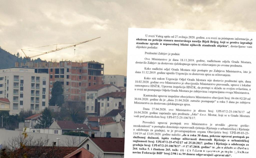 GRADNJA NA BRIJEGU Ministarstvo utvrdilo 'pravne greške-nezakonitosti' i naložilo upravni postupak