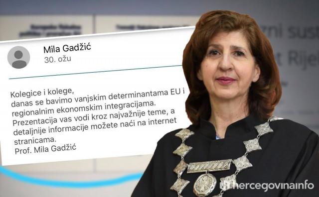 """PISMO STUDENATA """"Dekanica Gadžić tvrdi da imamo najbolju online nastavu, a potpisala se na prezentaciju iz Rijeke, ni kameru ne pali"""""""