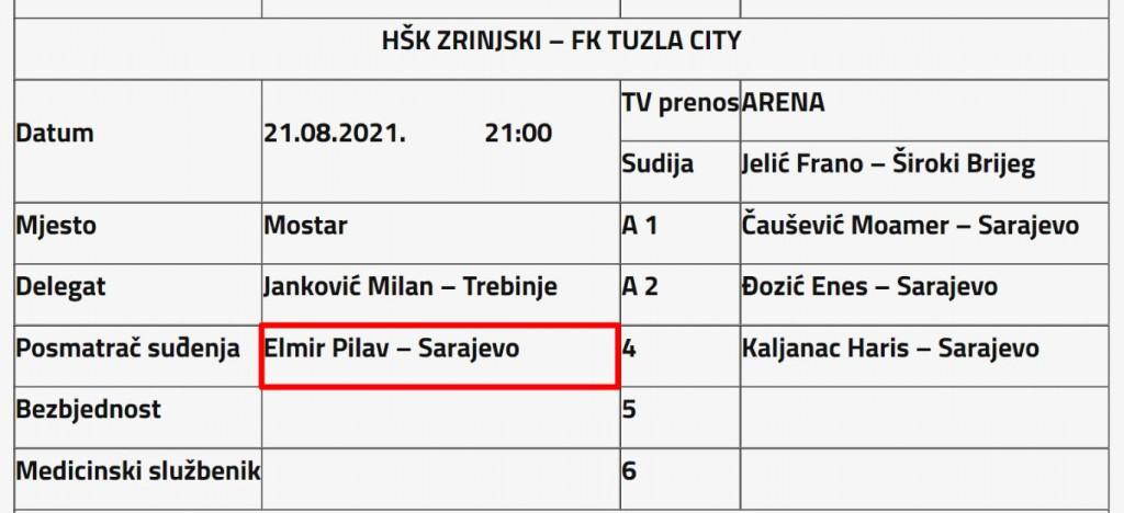 Elmir Pilav kao predsjedavajući Komiteta za suce i suđenje , sam sebe je delegirao na utakmicu 6. kola Premijer lige BiH
