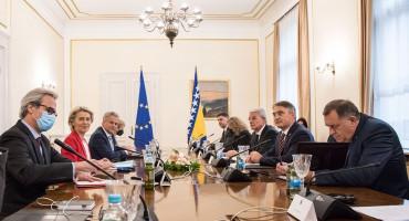 SASTANAK SA VON DER LEYEN Dodik pričao o 'drugim glasovima' i otcjepljenju, a Džaferović i Komšić zadovoljni